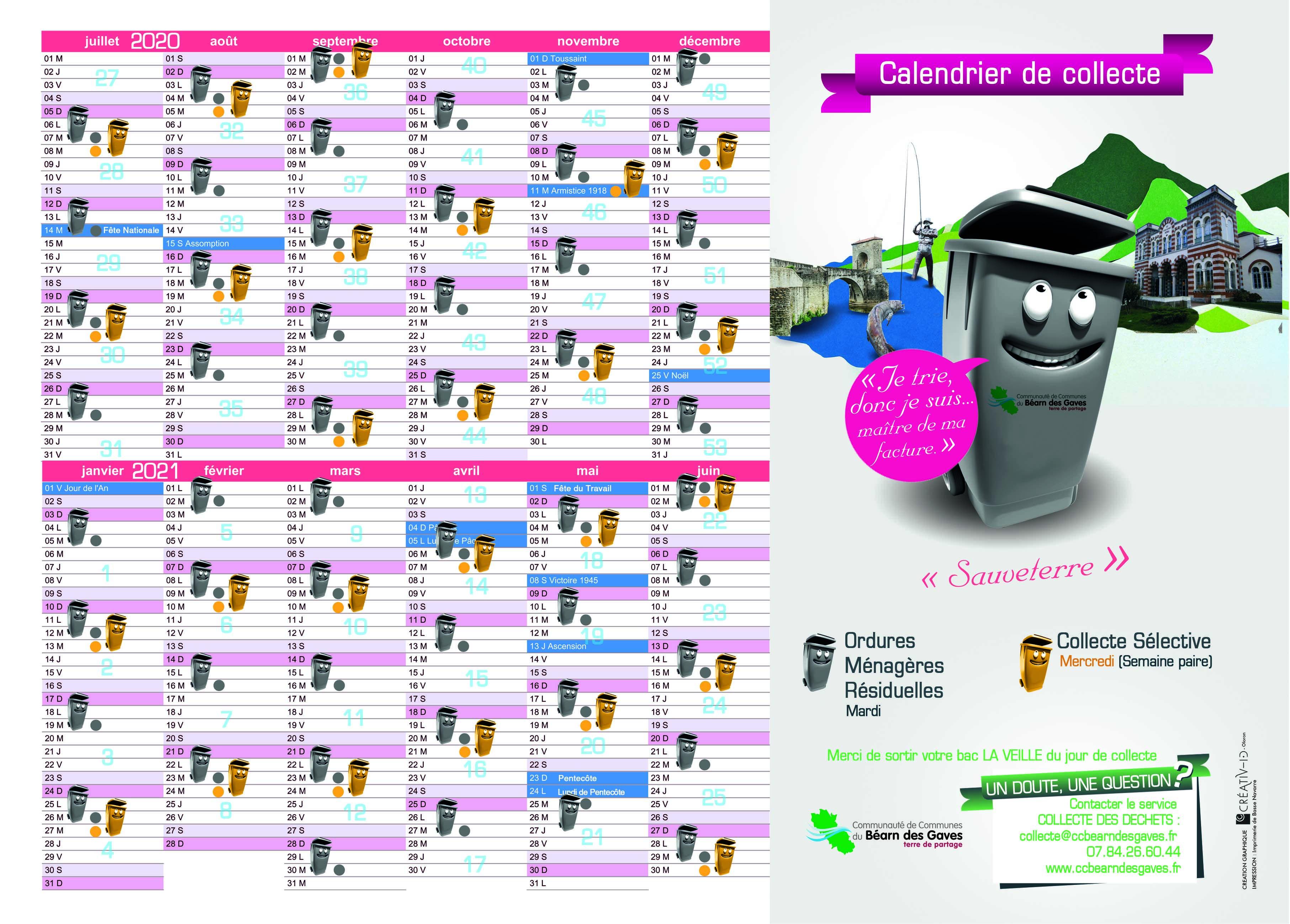 Calendrier De Collecte 2021 Calendrier collecte juillet 2020   juin 2021   Commune de